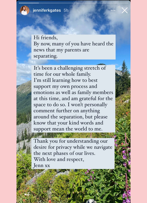 jennifer gates : statement on parents divorce